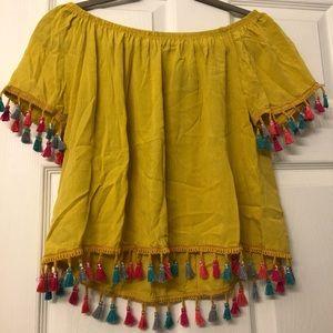 Mustard off the shoulder blouse